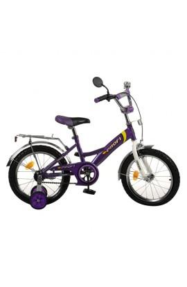 Велосипед PROFI дитячий 16 д. P 1638 біло-фіолетовий, дзвоник, приставні колеса, кор., 69-41-16 см