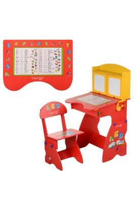Парта W 077 стілець, червоно-жовта
