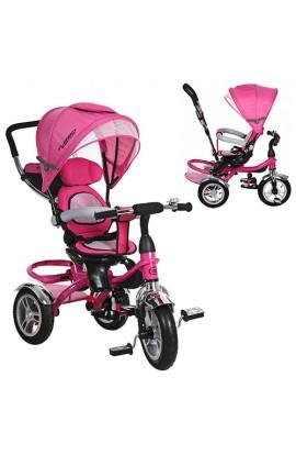 Велосипед M 3114-6A три гумових колеса, колясочний, гальмо, підшипник, рожевий.