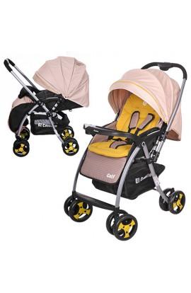 Коляска дитяча GOLF M 3429-15 прогулянкова, книжка, колеса 4 шт., регул. спинка, ремені безпеки, беж