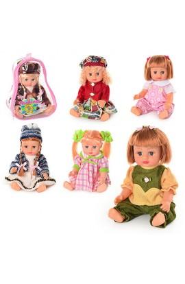Лялька ОКСАНОЧКА 5066-5069-5075-5076 6 видів, муз. (укр.), рюкзак, 21-17-11 см.
