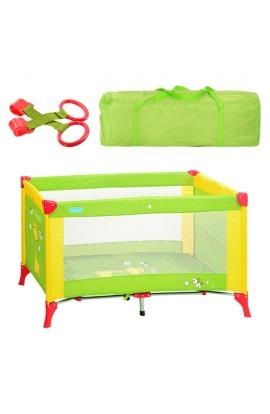 Манеж M 1545 дитячий, зелено-жовтий, сумка, 65-120-72 см