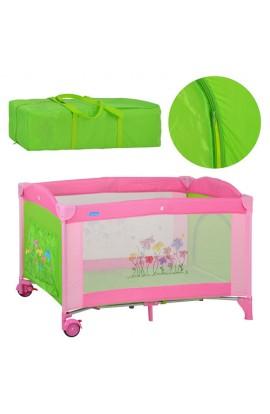 Манеж M 2238 дитячий, 2 колеса, гальмо, бокова кишеня, зелено-рожевий, сумка, 124-65-83