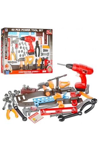 Набір інструментів 661-306 дриль (механічна), викрутки, плоскогубці, пояс, 40 дет., кор., 60-44-7 см