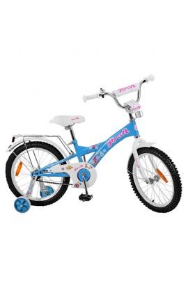 Велосипед дитячий PROF1 G1864 18'' додаткові колеса, дзвінок, блакитний.
