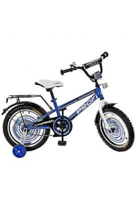 Велосипед дитячий PROF1 G1673 16'' додаткові колеса, дзвінок, синій.
