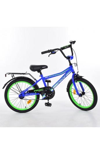 """Велосипед дитячий PROF1 L20103 20"""" дзеркало, дзвінок, підніжка, синій, кор."""