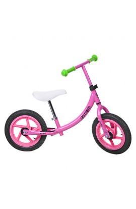Беговел PROFI KIDS M 3437A-2 дитячий 12'' колеса гума, пласт. обід, набір наклейок на раму, рожеві.