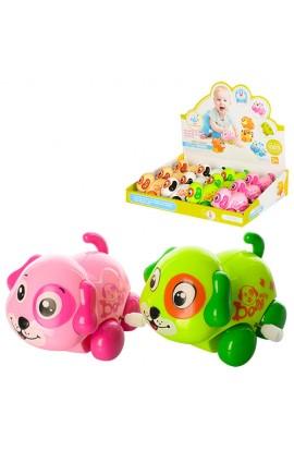Заводна іграшка 6629 собачка, крутить головою і хвостиком, 12 шт. (4 кольори) в диспл., 30-23,5-7 см
