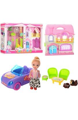 Будиночок 8116-4 лялька, 2в1 (меблі, машинки, ігрова площадка), муз., світло, бат., кор., 49-27,5-8,