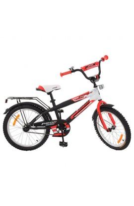 Велосипед дитячий PROF1 G2055 20'', дзвінок, підніжка, чорно-білий-червоний.