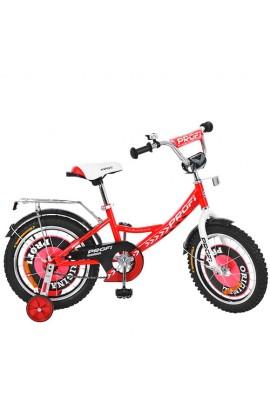 Велосипед дитячий PROF1 G1645 16'', дзвінок, додаткові колеса, червоний.