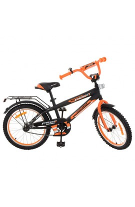Велосипед дитячий PROF1 G2052 20'', дзвінок, підніжка, чорно-помаранчевий.