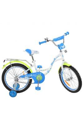 Велосипед дитячий PROF1 G1824 18'', дзвінок, додаткові колеса, білий.
