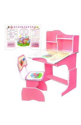 Парта HB 2071-02-7 регулюється висота, стільчик, рожевий, кор.