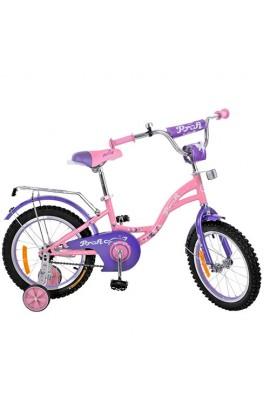 Велосипед дитячий PROF1 14д. G1421 дзвінок, доп. колеса, рожевий.
