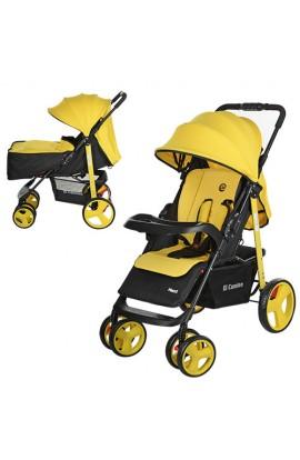 Коляска дитяча M 3444-6 NEXT прогулянкова, книжка, колеса 6 шт., регул. спинка, ремені безпеки, жовт