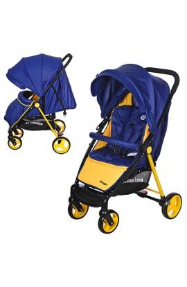 Візок дитячий M 3435-4 PREGO прогулянковий, дах, колеса 4 шт., чохол, ремені безпеки, синьо-жовтий.