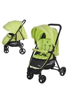 Візок дитячий M 3435-5 PREGO прогулянковий, дах, колеса 4 шт., чохол, ремені безпеки, зелено-чорний