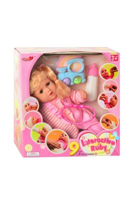 Лялька 3308 функціональна, пляшечка, брязкальце, муз., бат., кор., 36-34,5-16,5 см