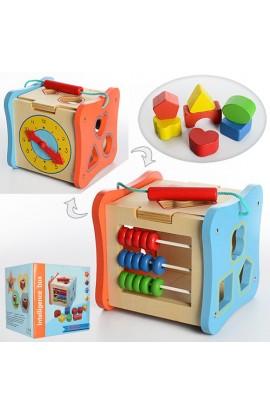 Дерев'яна іграшка Гра MD 1002 куб, сортер, фігурки, рахунки, годинник, кор., 18-18-18 см.