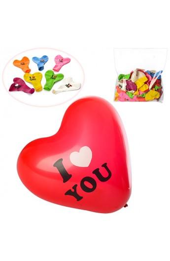 Кульки надувні MK 1044 серце, I Love You, 8 кольорів, 100 шт. кул., 22-26-2 см.
