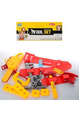 Набір інструментів 838B пояс, плоскогубці, пила, молоток, викрутка, болти, кул., 20-36-5 см.