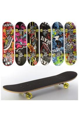 Скейт MS 0321-1 алюмінієва підвіска, колеса ПУ, 7 шарів, 6 видів, розібраний, кул., 78,5-20 см