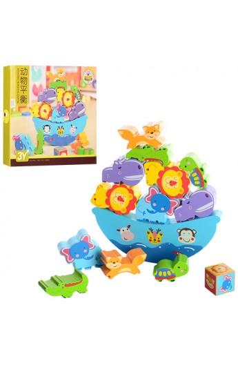 Дерев'яна іграшка Гра MD 1016 корабель, тварини 12 шт., кубик, кор., 22,5-20,5-3,5 см.