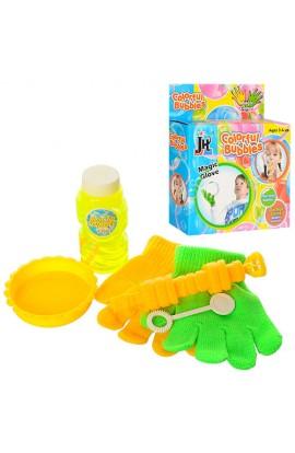 Мильні бульбашки 328 гра, дудка, запаска, рукавички 2 шт., ємність, кор., 14-17-4,5 см.