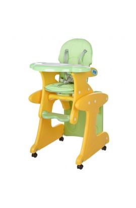 Стільчик M 3267-6 для годування, трансформер (зі столиком), колеса 4 шт., регул.спинка, ремені безпе