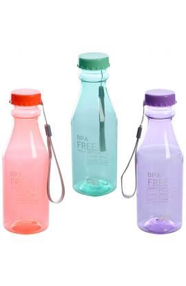 Пляшка MC05 пластик, 550 мл., шнурок, 3 кольори, кул., 20-6,5-6,5 см.
