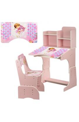 Парта B 2071-9 регулюється висота, стілець, стільниця, рожева