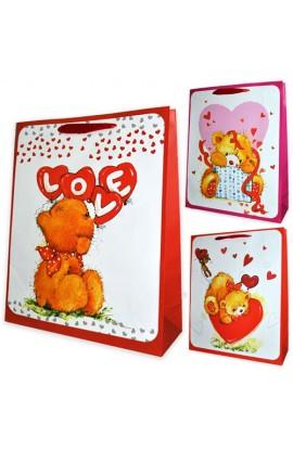 Пакет 39*30*10  Ведмедики з сердечками