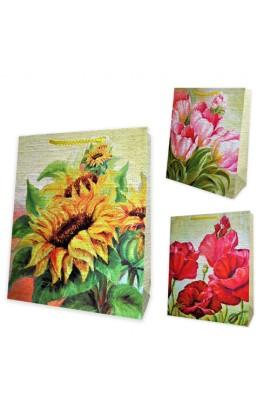 Пакет 42*33*11,5  Маки, тюльпани, соняхи