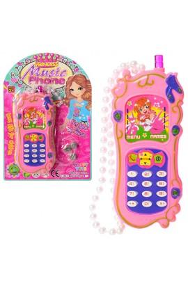 Телефон HT88011 муз., світло, шнурок-намистини, бат. (таб.), лист., 13,5-21-2 см.