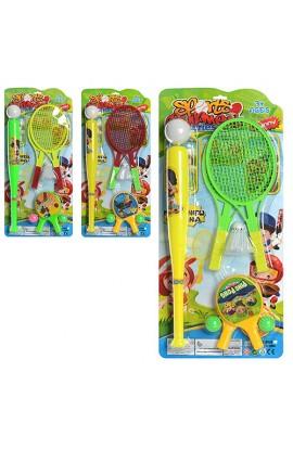 Набір спортивний M 2677 ракетки, біта, м'ячики, воланчик, 3 кольори, лист, 28-59,5-5,5 см