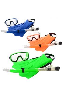 Набір для плавання M 0755 U/R  маска, ласти 32-10 см, трубка, кул., 55 см