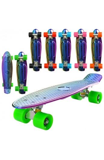 Скейт MS 0294 пенні, алюм. підвіска, колеса ПУ, веселка, металік, 6 кольорів.