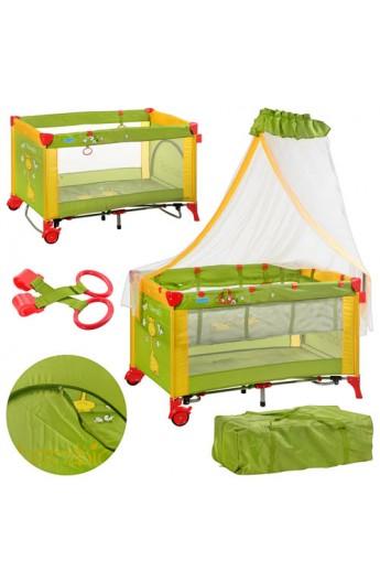 Манеж-ліжко M 2707 дитячий, дуга з іграшками, балдахін, зелено-жовтий, кор., 25,5-25,5-78 см