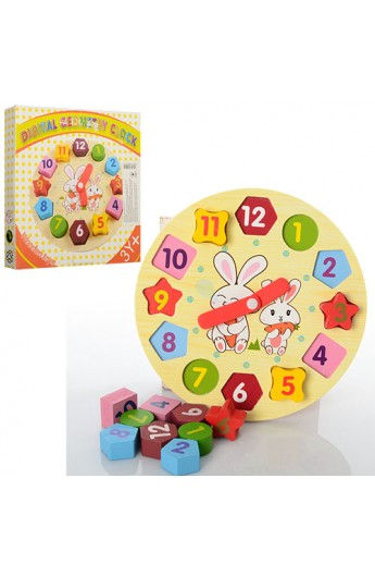 Дере'вяна іграшка Годинник MD 0719 сортер, кор., 19-19-2,5 см