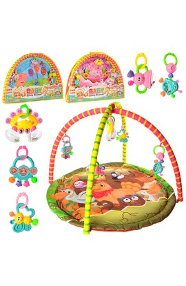 Килимок для немовляти 325-66-68-69 дуга 2 шт., підвіски-брязкальця 5 шт., 3 види, сумка, 82-58-6 см.