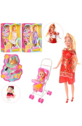 Лялька 88076-1 вагітна, з донькою, коляска, пупс, аксесуари, 2кольори, кор., 22-33-8,5 см