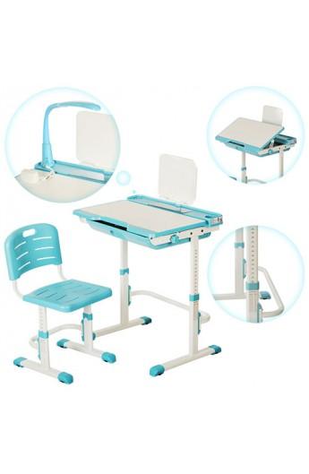 Парта M 3111-4 регулюється висота, нахил, стілець, підставка для книг, висувний ящик, синій