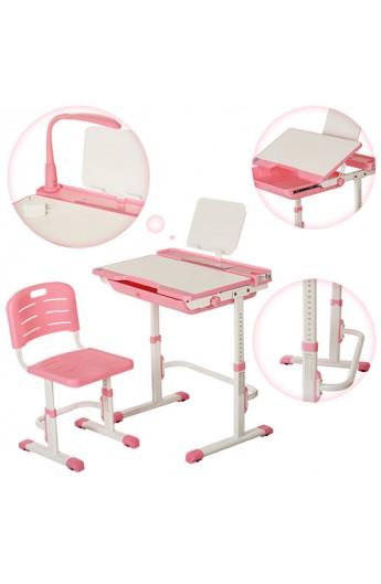 Парта M 3111-8 регулюється висота, нахил, стілець, підставка для книг, висувний ящик, рожева
