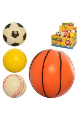 М'яч дитячий фомовий E3005 7 см., 24 шт. (4 види) в диспл., 29,5-22,5-15 см.