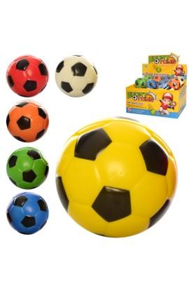М'яч дитячий фомовий E3012 7 см., футбол, 24 шт. (6 кольорів) в диспл., 29,5-22,5-15 см.