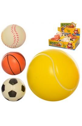 М'яч дитячий фомовий E4005 9,5 см., 12 шт. (4 види) в диспл., 38-28-10 см.
