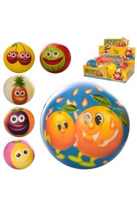 М'яч дитячий фомовий E4020 9,5 см., фрукти, 12 шт. (мікс видів) в диспл., 38-28-10 см.