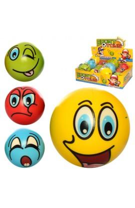 М'яч дитячий фомовий E4013 9,5 см., смайл, 12 шт. (мікс видів) в диспл., 38-28-10 см.